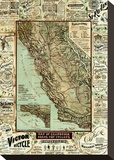 Map of California Roads for Cyclers, c.1896 Stretched Canvas Print by George W. Blum