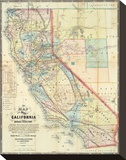 New Map of The State of California and Nevada Territory, c.1863 Stretched Canvas Print by Leander Ransom