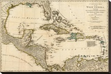 Complete Map of the West Indies, c.1776 Stretched Canvas Print by Robert Sayer