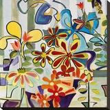 Happy Snappy Garden Opspændt lærredstryk af Joan Elan Davis