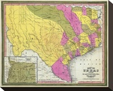 Map of Texas, c.1846 Stretched Canvas Print by Samuel Augustus Mitchell