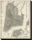 New York, Plan, c.1844 Stretched Canvas Print