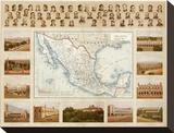 Carta Politica, c.1885 Stretched Canvas Print by Antonio Garcia Cubas