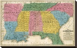 Map of the Southern States, c.1839 Stretched Canvas Print by Samuel Augustus Mitchell
