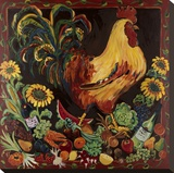 Wine and Rooster Stretched Canvas Print by Suzanne Etienne