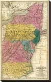 Map of the Middle States, c.1839 Stretched Canvas Print by Samuel Augustus Mitchell