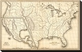 Map of the United States and Texas, Mexico and Guatimala, c.1839 Stretched Canvas Print by Samuel Augustus Mitchell