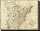 Map of the United States of America, c.1796 Stretched Canvas Print by John Reid