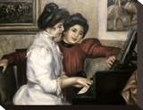Lerolle Girls at the Piano Stretched Canvas Print by Pierre-Auguste Renoir