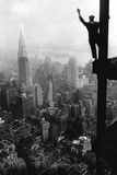 Man Waving from Empire State Building Construction Site Posters