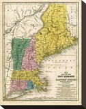 Map of the New England or Eastern States, c.1839 Stretched Canvas Print by Samuel Augustus Mitchell