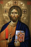 Christ Pantocrator Icon at Aghiou Pavlou Monastery on Mount Athos Posters af Julian Kumar