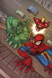 Marvel Adventures Super Heroes No.3 Cover: Spider-Man, Hulk and Iron Man Posters af Roger Cruz