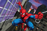 Spider-Man Swinging through the City Art