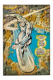 Marvel Comics Retro: Silver Surfer Comic Panel, Over the City (aged) Poster
