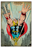 Marvel Comics Retro: Mighty Thor Comic Panel, Flying (aged) Print