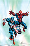 Marvel Age Team Up No.2 Cover: Spider-Man and Captain America Fighting and Flying Prints by Randy Green
