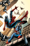 Spectacular Spider-Man No.16 Cover: Spider-Man and Captain America Fighting Affischer av Michael Ryan