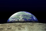 Earth Rising Over Moon Surface Posters