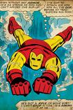 Marvel Comics Retro: The Invincible Iron Man Comic Panel, Swimming (aged) - Reprodüksiyon