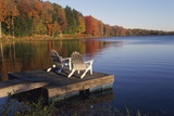Adirondack Chairs on Dock at Lake Posters by Ralph Morsch