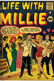 Marvel Comics Retro: Life with Millie Comic Book Cover 13, Bathing Suit, Beach Club Dance (aged) Posters