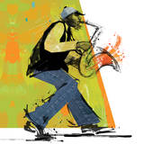 Sax Player Prints by Cathy Johnson