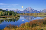 Full Moon Rising Over the Oxbow Bend Print by Buddy Mays