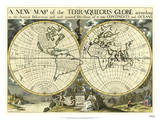 New Map Terra. Globe, Ox., 1700-01 Poster by Edward Wells
