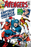 Avengers Classic 4 Cover: Captain America, Iron Man, Thor, Giant Man and Wasp Print by Jack Kirby