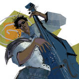 Bass Player Poster par Cathy Johnson