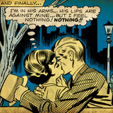 Marvel Comics Retro: Love Comic Panel, Kissing in the Park (aged) Prints