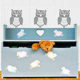 Owl Times Three (x3) Wall Decal