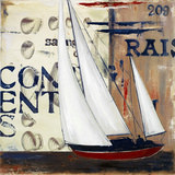 Blue Sailing Race II Print by Patricia Quintero-Pinto