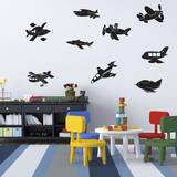 Fly Away Airplanes (x10) Wall Decal