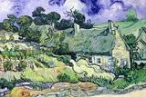 茅葺屋根のあるコテージ 1890年(Thatched Cottages at Cordeville, Auvers-Sur-Oise) 高品質プリント : フィンセント・ファン・ゴッホ