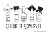 Vier de verscheidenheid, drankflessen met hoofddeksels en tekst: Celebrate Diversity Posters van  Snorg Tees