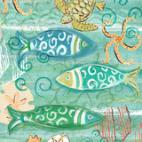 Colorful Sea Life Square II Prints by Rebecca Lyon
