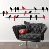 Birds on a Wire (x17) Wall Decal