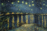 Starry Night over the Rhone, c.1888 ポスター : フィンセント・ファン・ゴッホ