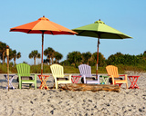 Beach Chairs Print by Kathy Mansfield