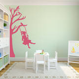 Half Tree (with Girl on Swing) Wall Decal