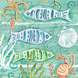 Colorful Sea Life Square I Print by Rebecca Lyon