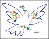 Colomba con fiori Stampa montata di Pablo Picasso