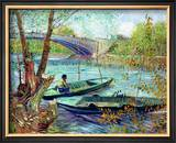 Fishing in the Spring, Pont de Clichy, c.1887 Framed Giclee Print by Vincent van Gogh