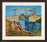The Drawbridge at Arles with a Group of Washerwomen, c.1888 Framed Giclee Print by Vincent van Gogh