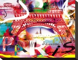 Paris s'eveille Stretched Canvas Print by  Kaly