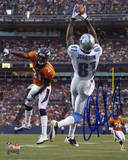 Calvin Johnson Detroit Lions Autographed vs Denver Broncos Photo