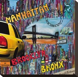Manhattan Brooklyn Stretched Canvas Print by Sophie Wozniak