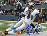 Calvin Johnson Detroit Lions Autographed vs Seattle Seahawks Photo